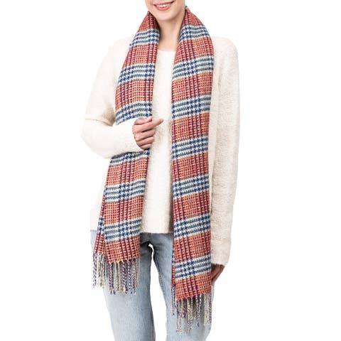 "Glitzhome 71""L Orange White and Grey Scarf with Tassels"