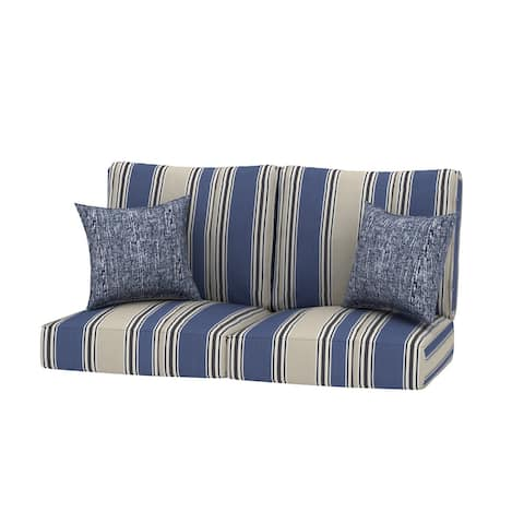 Loveseat Stripe Outdoor 24x24 Replacement Cushions with Pillows