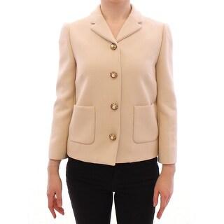 Dolce & Gabbana Beige Wool Pearl Button Jacket Blazer Coat - it40