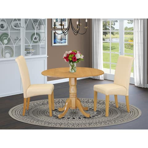 East West Furniture Dining Room Set - Round Table and Parson Chairs - Oak Finish (Pieces Option)