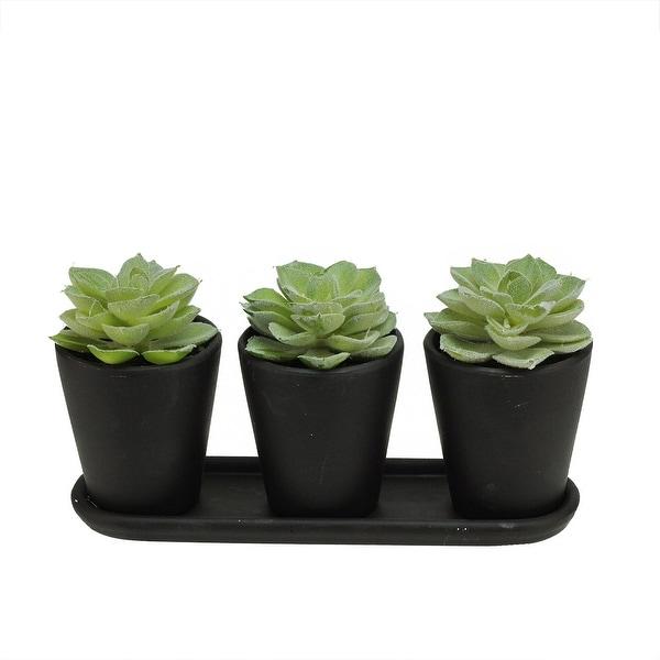 """9"""" Artificial Echeveria Succulent Plants in Decorative Black Pots Table Top Centerpiece"""