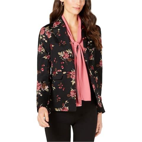 Nine West Womens Floral One-Button Jacket, Black, 14