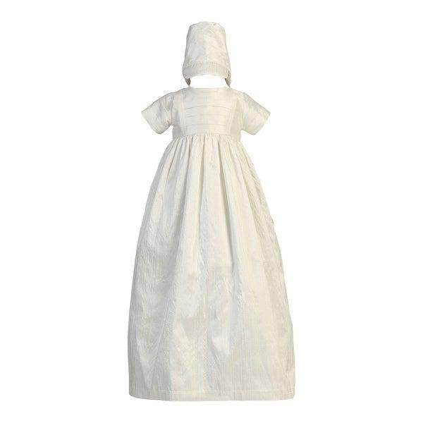 Baby Girls Boys White Silk Heirloom Gown Bonnet Set Baptism Set 0-18M