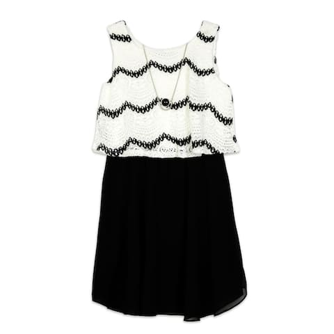 Amy Byer Girl's Dress Black Size 10 Blouson Lace Colroblock Necklace