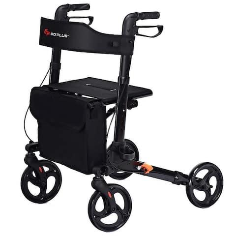 Goplus Folding Medical Rollator Lightweight Aluminum Walker Seniors w