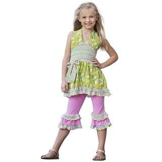 AnnLoren Baby Girls Green Ocean Mermaid Halter Top Shorts Outfit