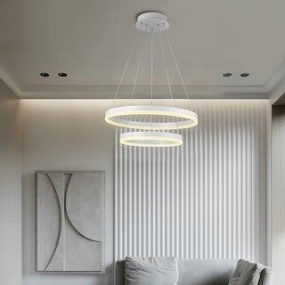 LED Modern Circular Pendant Lamp Indoor 2 Rings Hanging Light