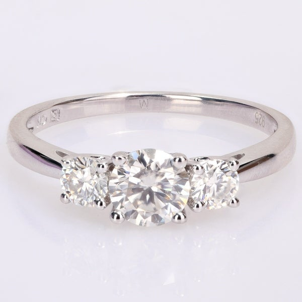 Miadora Sterling Silver 1ct TGW Created White Moissanite 3-Stone Engagement Ring. Opens flyout.