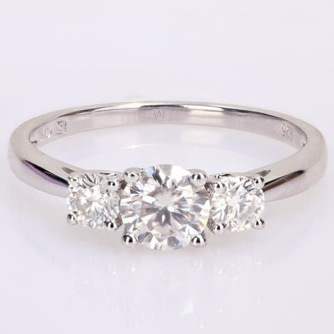 Miadora Sterling Silver 1ct TGW Created White Moissanite 3-Stone Engagement Ring