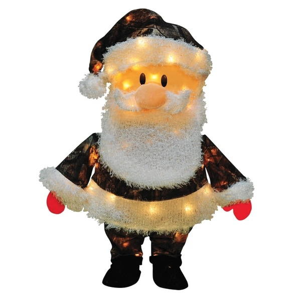 """24"""" Pre-Lit Candy Lane Santa Claus in Camo Christmas Outdoor Decoration - Clear Lights"""