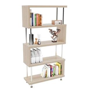 "S-Shaped 5 Shelf Bookcase, Wooden Z Shaped 5-Tier Etagere Bookshelf - 7'9"" x 9'9"""