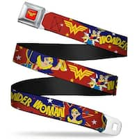 Wonder Woman Logo Full Color Red Dc Girls Wonder Woman 3 Poses Logo Stars Seatbelt Belt