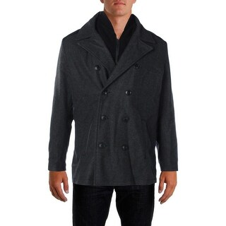 Kenneth Cole Reaction Mens Pea Coat Wool Single Vent