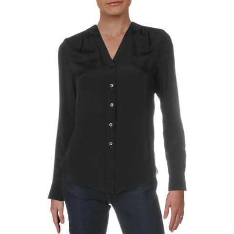 See by Chloe Womens Cardigan Top Silk Blend V-Neck - Black - 34