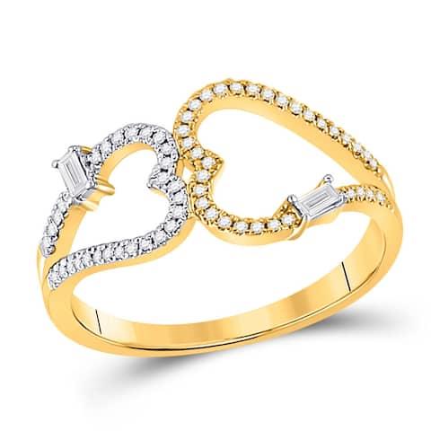 14k Yellow Gold Womens Baguette Diamond Double Heart Ring 1/5 Cttw