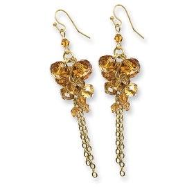 Goldtone Acrylic Cameo Acrylic Pearl Crystal Dangle Earrings