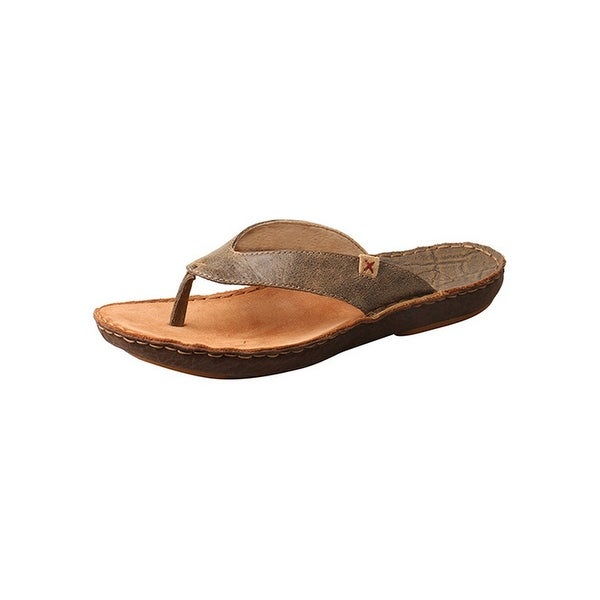 c435eb271408 Shop Twisted X Shoes Mens Sandals Flip Flop Leather Stitched Bomber ...