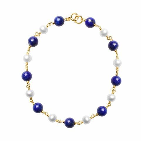 "14K White Pearl and Lapis Link Bracelet 7.5"""