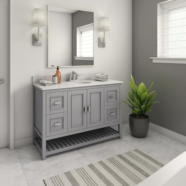"""48"""" Bathroom Vanity with Large Countertop and Drawers. Opens flyout."""