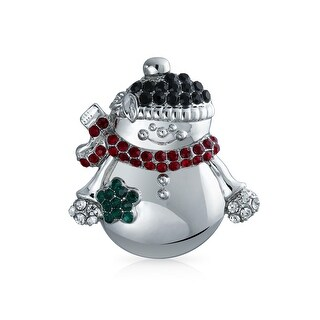 Bling Jewelry Crystal Holiday Grinning Snowman Brooch Pin Rhodium Plated