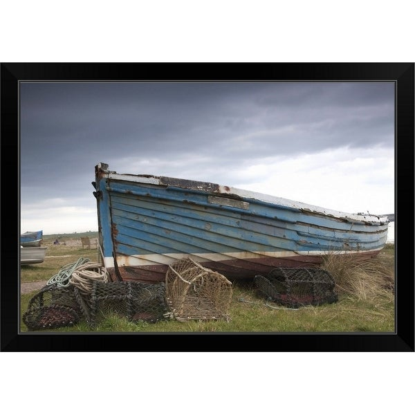 """""""A Boat And Fishing Traps On The Shore"""" Black Framed Print"""
