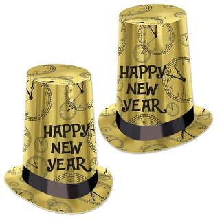"""Club Pack of 25 Gold Happy New Year Super High Midnight Clock Party Hat 10"""""""