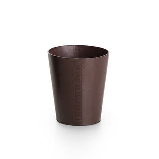 """WS Bath Collections Korame 7003 9-9/10"""" Leather Waste Basket from the Linea Collection"""