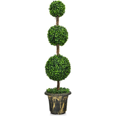 Costway 4' Artificial Topiary Triple Ball Tree Plant Indoor Outdoor UV