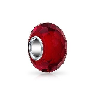 Bling Jewelry Red Faceted Crystal Imitation Garnet glass Charm Bead .925 Sterling silver