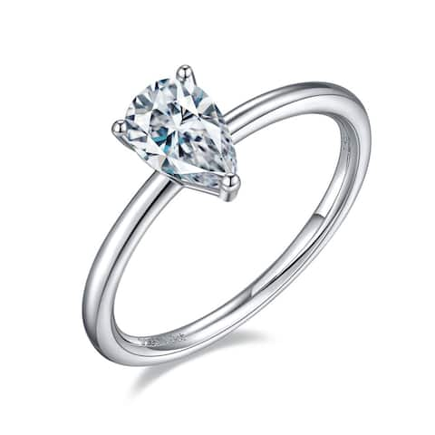 TwoBirch 1 Carat Moissanite Tear Drop Pear Solitaire in Platinum Plated Sterling Silver (GRA CERTIFIED)