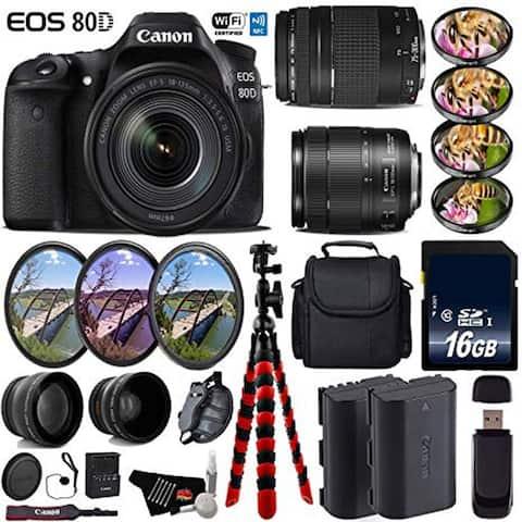 Canon EOS 80D DSLR Camera & 18-135mm is STM Lens & 75-300mm III Lens + UV FLD CPL Filter Kit + Card Reader bundle - Intl Model