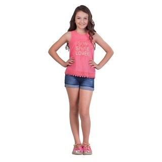 Pulla Bulla Big Girl Lace Tank Top Teen Graphic Sleeveless Tee (Option: 7)