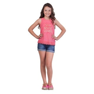 Pulla Bulla Big Girl Lace Tank Top Teen Graphic Sleeveless Tee