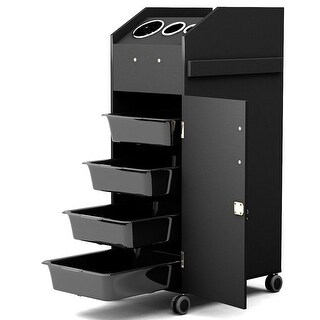 Costway Black Beauty Salon Spa Rolling Trolley 4 Storage Trays &Locking Door Equipment