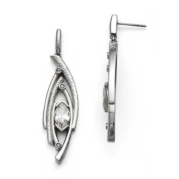 Chisel Stainless Steel Polished and Textured CZ Post Dangle Earrings