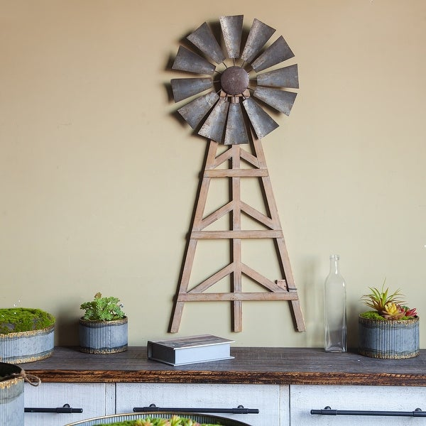 Wood and Metal Wind Mill Wall Decor. Opens flyout.