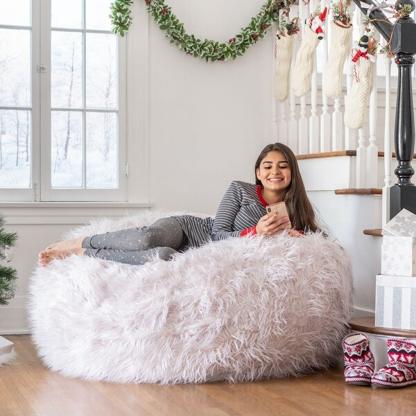 Lachlan Glam 5 Foot Faux Fur Bean Bag Chair by Christopher Knight Home. Opens flyout.