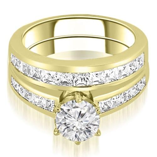 14K Yellow Gold 2.05 ct.tw Channel Set Princess Cut Diamond Bridal Set HI, SI1-2