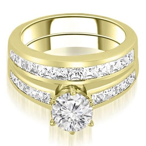 14K Yellow Gold 2.30 cttw. Channel Set Princess Cut Diamond Bridal Set HI,SI1-2