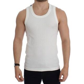 Dolce & Gabbana White cotton sleeveless tank top
