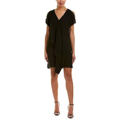Adrianna Papell Women's Cold Shoulder Asymmetrical Draped Dress Black Sz: 16