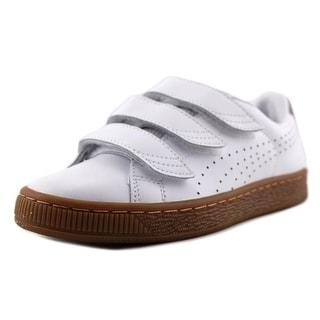 Puma Basket Classic Strap CITI Youth   Leather White Fashion Sneakers