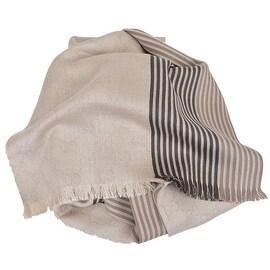 NEW Gucci Men's 387568 Beige Brown Stripe Cotton Silk GG Guccissima Scarf