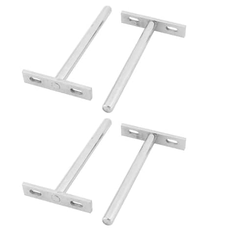 Home Stainless Steel T Shaped Wall Mounted Shelf Support Holder Bracket 4 Pcs