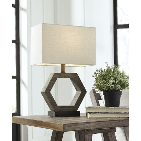 """Marilu Poly 19 Inch Table Lamp - Gray and Brown - 12"""" W x 7"""" D x 18.88"""" H"""