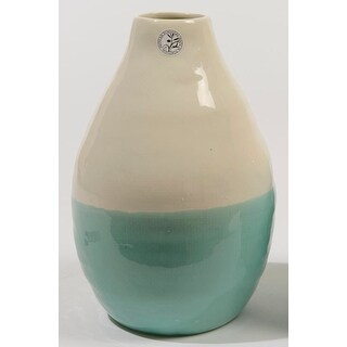 "12"" L'Eau de Fleur Hand-Made Mint Green and White Ceramic Vase"
