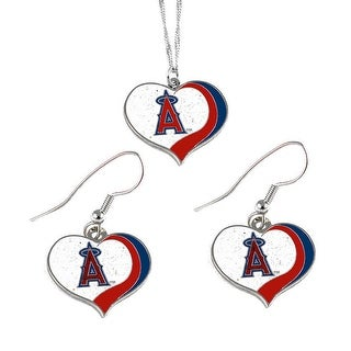Los Angeles Angels  MLB Glitter Heart Necklace and Earring Set Charm Gift