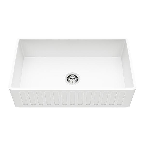 "Vigo VGRA3318CS 33"" Single Basin Acrylic Kitchen Sink with Cutting Board and Basket Strainer - Matte White"