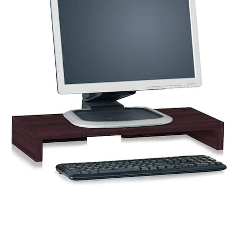 Way Basics Eco Friendly Computer Monitor Stand, Espresso Wood Grain - Tool-Free Assembly - Non Toxic - LIFETIME GUARANTEE