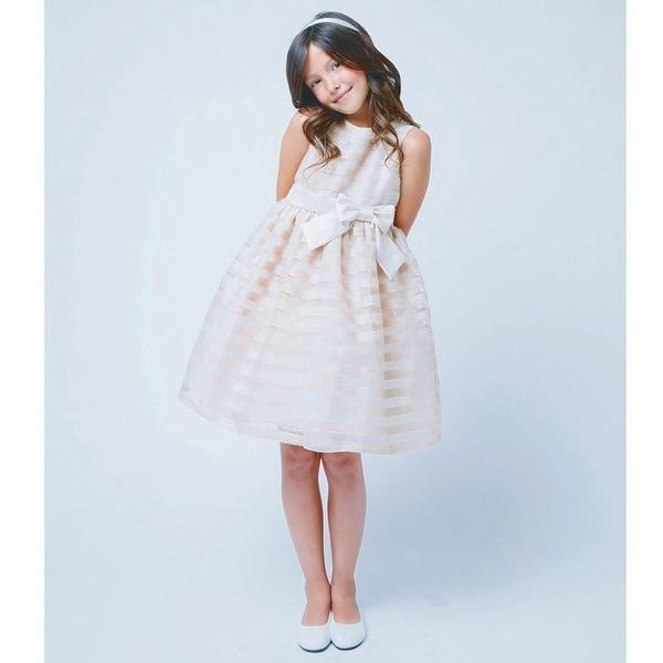 Sweet Kids Baby Girl Champagne Tonal Stripe Bow Occasion Dress 3-24M